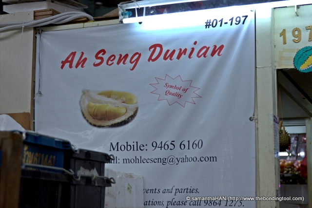 Ah Seng Durian is located right in the middle of a wet market.