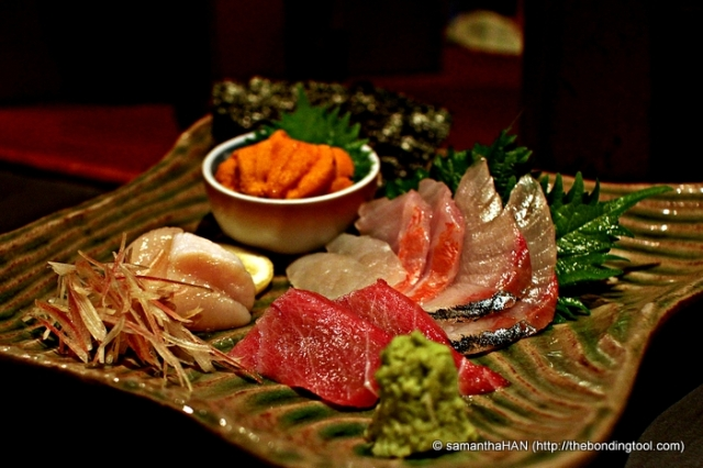 Sashimi Platter. Fish changes with season and what's freshest during time of order. Nagomi imports their fresh foods 4 times per week.