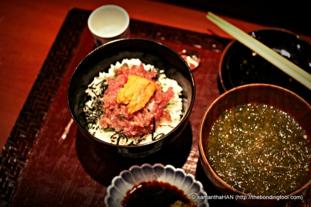 """The 7th item of my Omakase meal consisted of seaweed gruel broth and tuna chirashi. At first, in the dim condition, I thought I was served mojito in a bowl, lol... The seaweed was without the usual """"pungent"""" laver taste. It was very clean tasting. The broth was not as clear, but resembling light rice porridge water in viscosity."""
