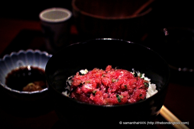 Hand-minced tuna on a bed of warm Japanese short grains. Drizzle in some shoyu for extra sweet soya taste.