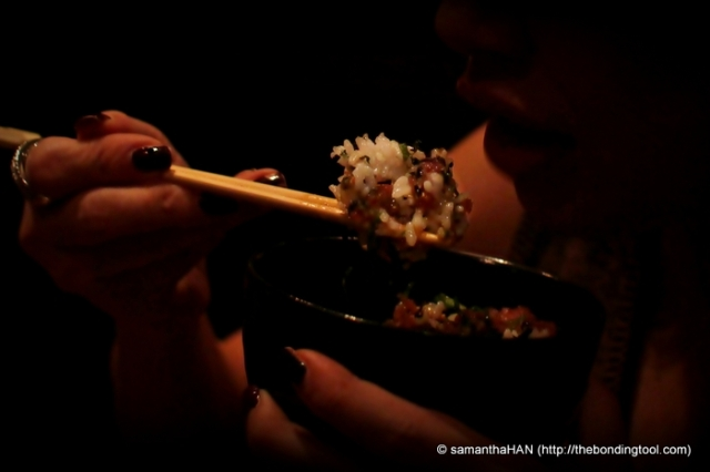 Oh but wait, I have to eat my minced Tuna rice first. Shoyu, mix well and nom nom nom...