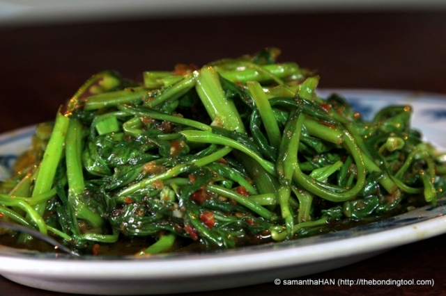 Sambal Kangkong   马来风光 - S$8. The mystical morning glory cooked in chilli, belachan and pounded dried shrimps. Undisputably the favourite vegetables with many considering it a local delight and must-order dish in a cze char restaurant.