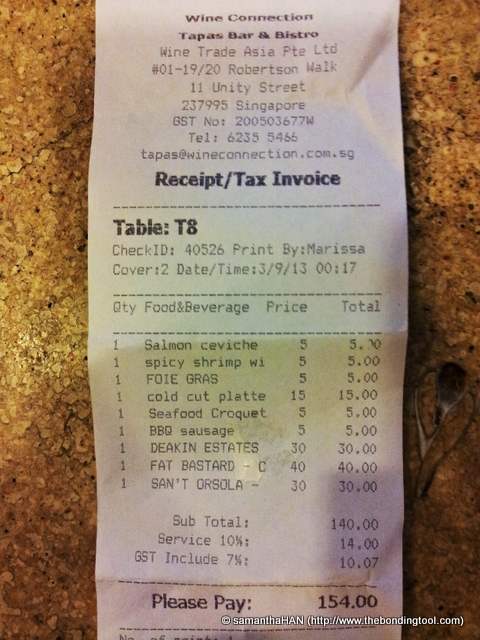 Bill for 6 tapas and 3 bottles of wine - S$140 before taxes.