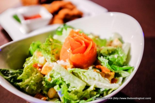 Caesar Salad with Smoked Salmon.