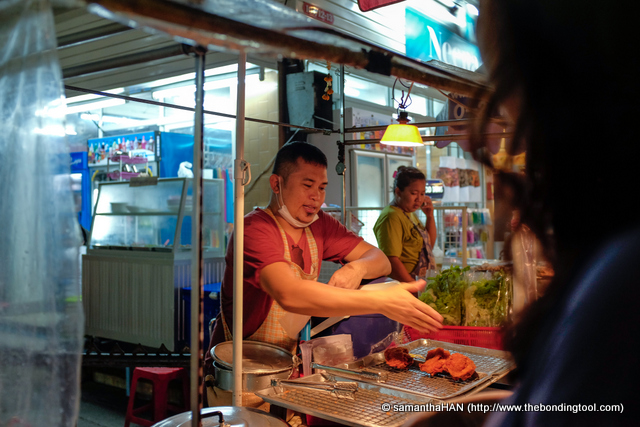 "There were many fried chicken sellers and we tried about 3 stalls. This guy's stall sold the best as we all agreed his was the most crispy and non greasy. He was also the most handsome and we nicknamed him that. ""Want to buy more chicken from handsome?"", we'd chuckle."