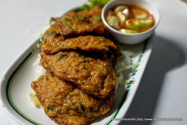 Fish Cake - 100 baht. for 4 patties<br />We loved these. The crisp chewy texture with the right amount of spice made this dish a very tasty starter to our meal.