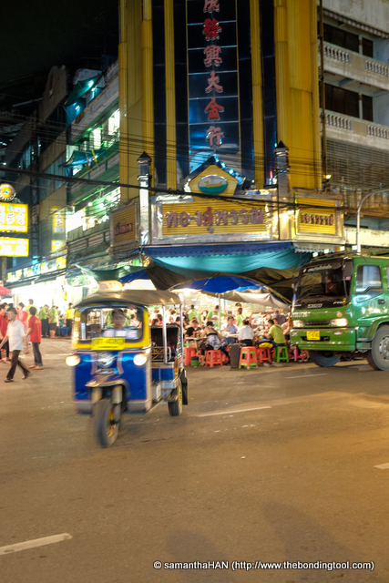 Chaotic traffic conditions but no problem for the skillful tuk tuk drivers.