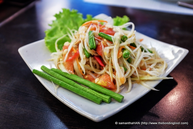 Som Tum Thai - Thai Papaya Salad at 130 baht.