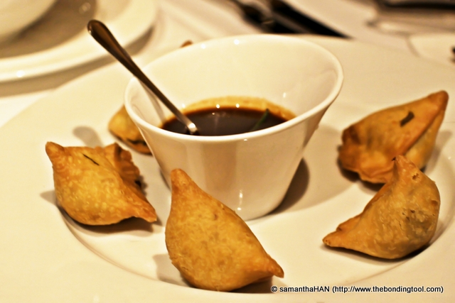 """Spinach and Feta Samosa. My friends did not want dessert so they order these. They liked it but samosa is not really my kind of """"dessert""""."""