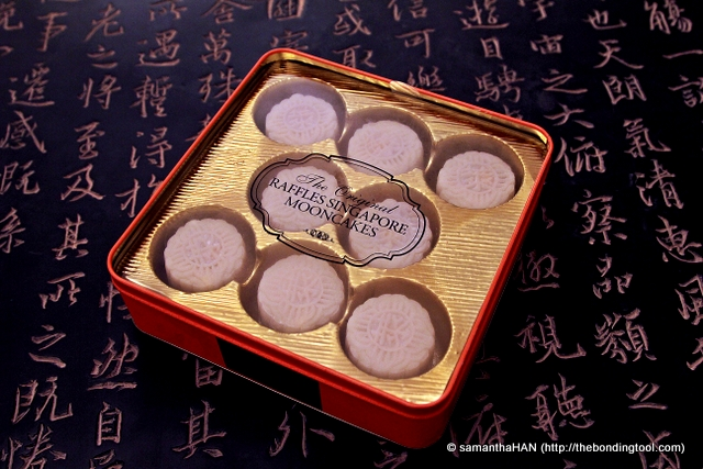 "Snow-Skin Mooncake with Champagne Truffle & Ganache 冰皮香槟巧克力月饼 from ""The Original Raffles Singapore Mooncakes"" is the only mooncake my elder daughter will eat."