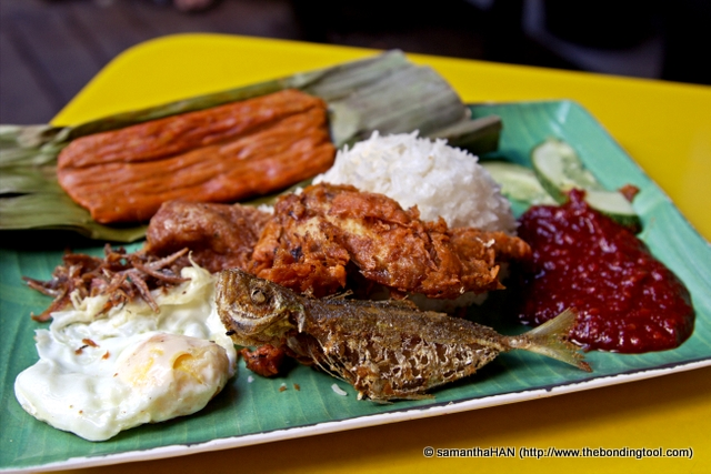 Royal Rumble - below S$6, is one of the variety offered on menu of Selera Rasa. It consisted of everything (sides) they had to offer; Otak Otak (fish paste), deep-fried Chicken Wing, Begedil (potato mash), egg, ikan bilis (anchovies) and ikan kuning (small fish).