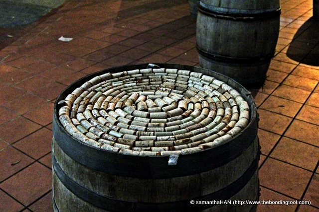Table top of corks.