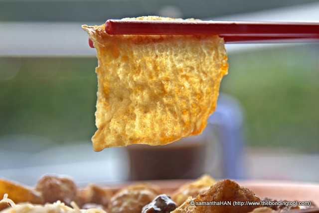 The Taukee (bean skin) are cut neatly into squares and deep-fried too.