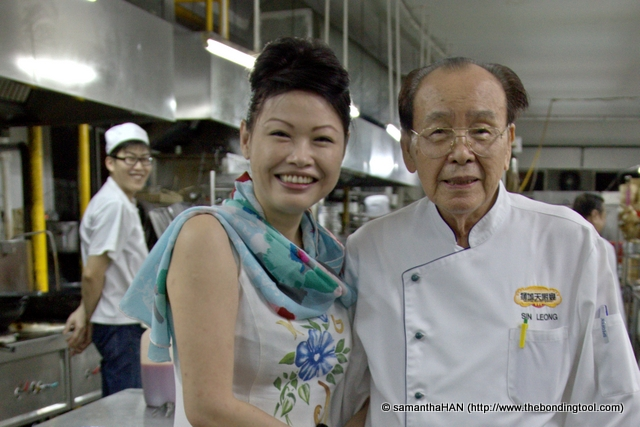 Masterchef Sin Leong in his eighties. He still has a glib tongue and said I look like a Miss Singapore. All who heard started laughing.