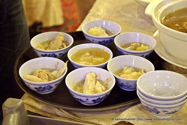 Soup for the rest were served into individual bowls, evenly distributed.