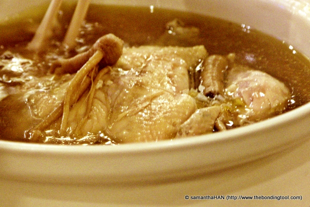 Soup of the day - Doubled Chicken with Ginseng and Snow Fungus.