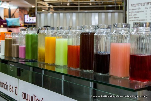 I'm fascinated by the sight of these colourful drinks.