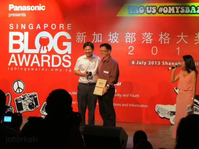 "Tony: ""Dear friends, your encouragement and strong support has helped Johor Kaki won the Best Food Blog honour at the Singapore Blog Awards 2013. Thank you so much I will continue to look for the best food of Johor and share with you all."""