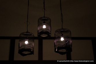 "Whe I looked up, I saw these skeletal bird cage lamp ""shades""."