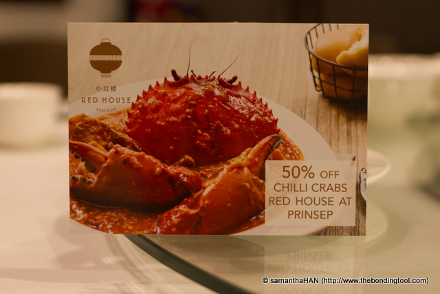 50% off Chilli Crab At Prinsep Street - click to be linked to their website to see the terms and conditions.<br />All their crab dishes are made to order and prepared on-the-spot to retain its freshness and good taste. Some time is required for the preparation and, as such, patience is required.