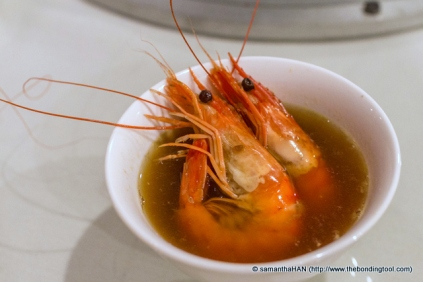 Drunken Prawns with Herbal Soup.