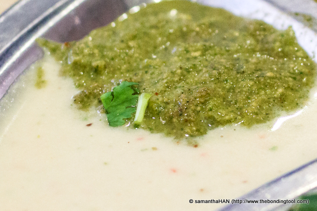 Coconut Chutney with Coriander. Has a slight minty taste. This one was quite strong in ginger.