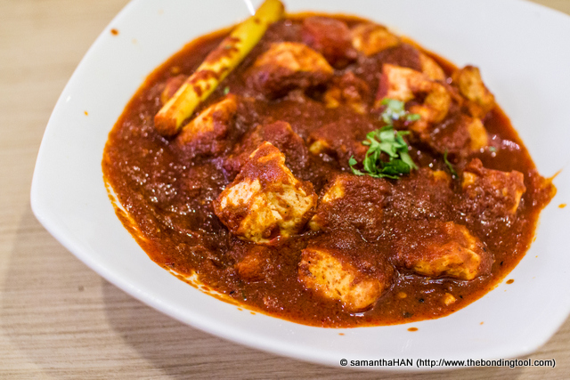 Sambal Taukwa (Tofu). This was adapted from Malay cuisine. As I mentioned earlier, Gokul has more than 400 dishes from different cuisines, all of them vegetarian. The manager told me their restaurant has the most items available in whole of Singapore that serves pure vegetarian.