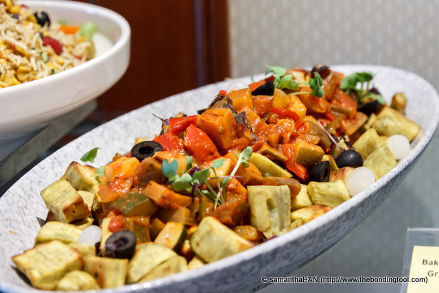 Baked Sweet Potato with grilled Mediterranean Vegetables. A diiferent take on salads.