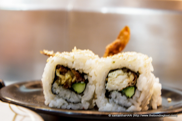 I had a soft shell crab sushi and another which was made on the spot by the chef.