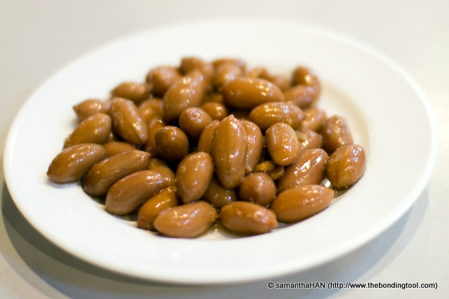 Braised Peanuts are common side dishes served at cze char and Chinese restaurants and they come at a cost. If you do not enjoy them, ask the server to take them away so that they are not included in your bill.