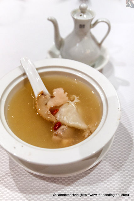 Double-boiled Fish Maw Soup with Sea Whelk (snail) and some Chinese herbs.