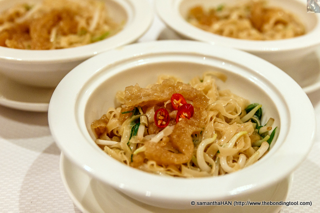 """Mee Poh"" with shredded Fish Maw, Spring Onion and Ginger."