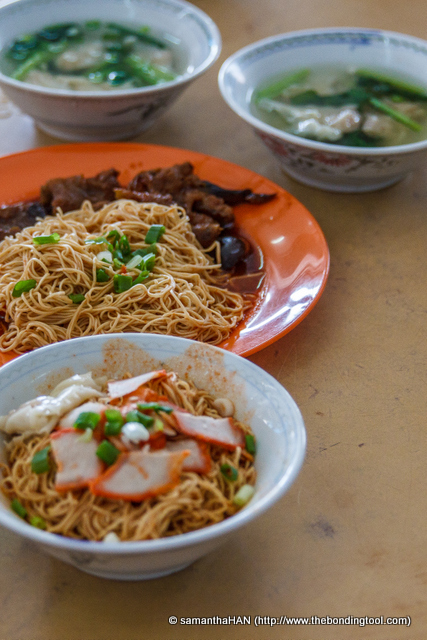 Food is here! We all had the little bowls of Wanton Mee with Charsiu while Tony had the Chicken Feet Noodles.