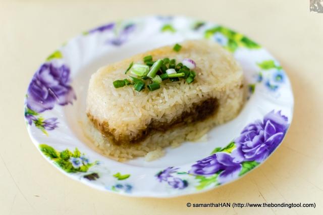 糯米鸡 (Nuo Mi Ji in Mandarin or Lor Mai Kai in Cantonese) is steamed glutinous rice with boneless chicken.