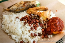 The accompanying ingredients here were the fried fish, chicken wings, peanuts & anchovies, a harboild and fried egg, some cucumbers and sambal (on egg).