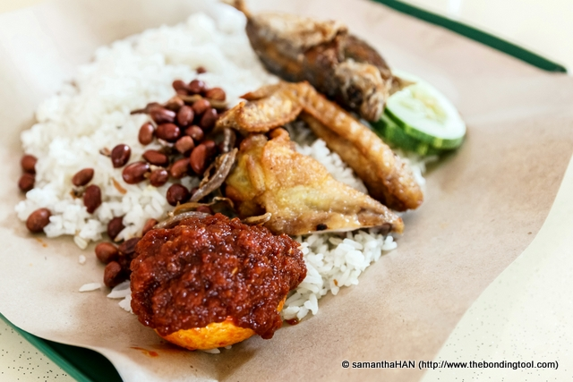 The standard fare in a nasi lemak meal.
