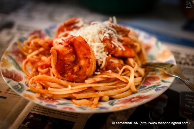 Jumbo Prawn & Seafood Marinara Fettucine à la  Valerie.