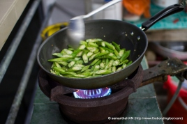 These stir-fried Ladies Fingers (Okra) were part of the Sambal Sotong (Squid) dish.