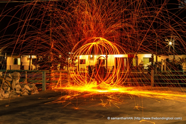 I wasn't happy with the above shot and Chi Sao obliged to do this act for me.<br />Can you find him in this ball of fire?