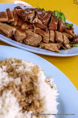 Braised Duck Teochew Style with Plain Jasmine Rice and a drizzle of the braising liquid.