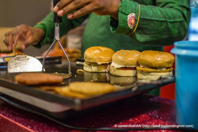 Malaysian style of Hamburgers - freshly cooked.