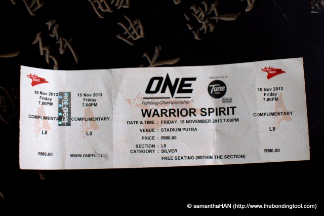My papparazzi ticket to the ONE FC 12 - Warrior event on 15th November 2013.