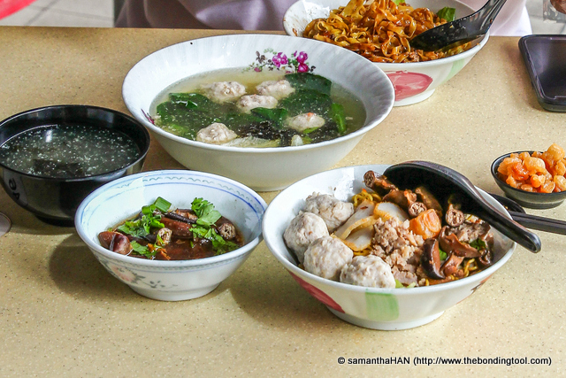 Punggol Noodles with Braised Pig's Small Intestines and a side of Meatballs.