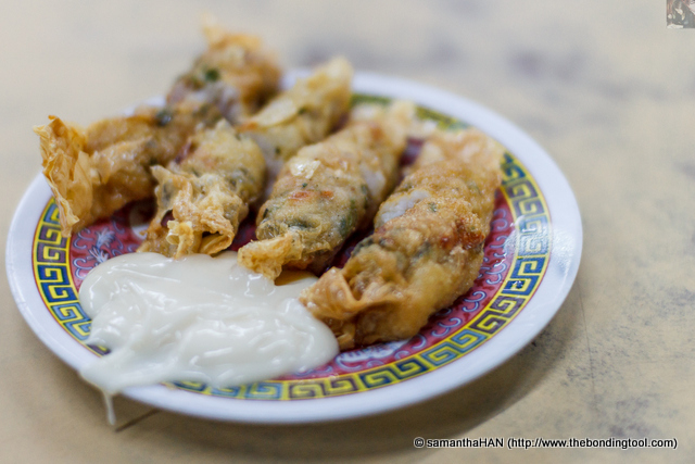 Fu Pei Prawns. Another item that we could start off while waiting for our hot items was this dish made of minced prawns and wrapped in Soybean Sheets, eaten with mayonnaise. Paul said the insides were cold. Not a good sign!
