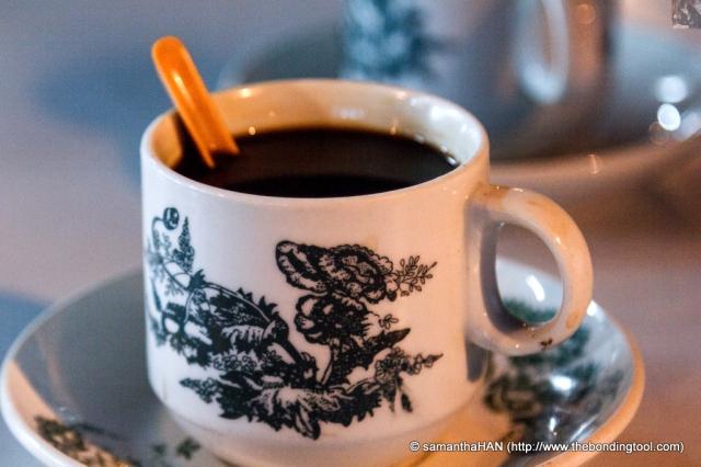 Kopi O (black coffee with sugar) for Paul.