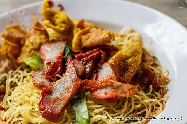 Egg Noodles with Charsiu and Deep-fried Wantons. I have no idea why they call it wanton mee and not charsiu mee.