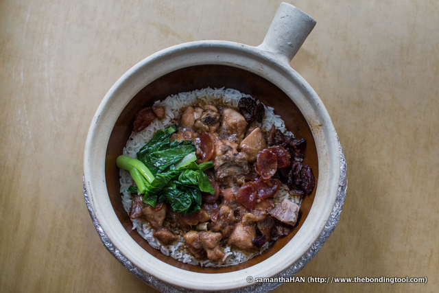The dish is first cooked using gas and then finished on charcoal stoves to create the smokey flavours of the waxed meats and crispy rice on the sides of the claypot.