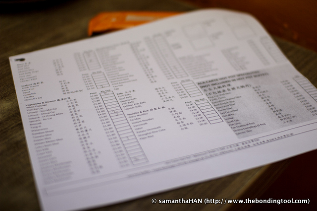 Tick sheet for ordering food. A new one will be given for your subsequent orders.