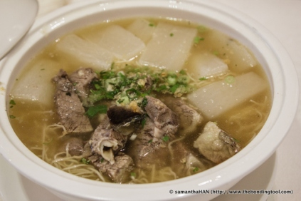 Beef Brisket and Radish Noodle Soup in clear beef broth.