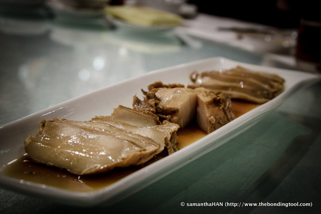 The abalones had been stewed in the same pot, same seasoning and cooked with the same amount of time, however, the way the abalone was cut did make a difference in mouthfeel. Most of the diners at the table preferred chunky.